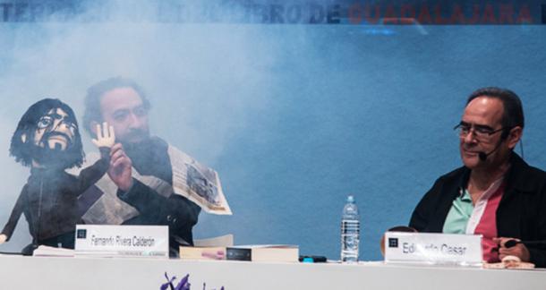 Fernando Rivera Calderón y Eduardo Casar con el Cronopio, llegado del más allá