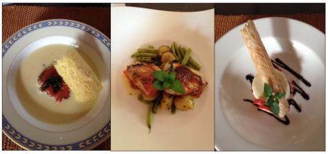 Crema de chile relleno (espectacular), Pollo a la chaya, Panacotta de manjar blanco (leche de coco)
