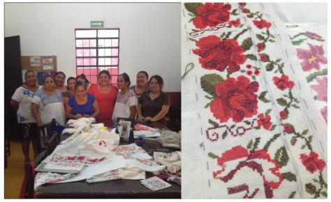 Grupo de bordadoras apoyadas por la Fundación; detalle de su trabajo.