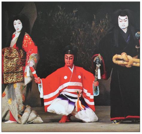Los tres protagonistas de la obra Otowagatake Danmari (foto: libro-programa de mano de Kabuki.za)