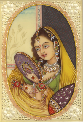 Princesa mughal, miniatura india.