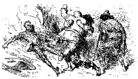 Pelea entre don Quijote, Sancho Panza y Cardenio. Grabado de Gustavo Doré.