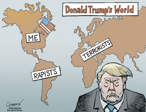 Cartón: Patrick Chappatte, The New York Times https://www.nytimes.com/2015/12/11/opinion/cartoon-the-world-according-to-donald-trump.html?_r=0